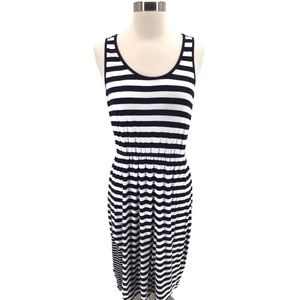 Market & Spruce Navy and White Striped Maxi Dress